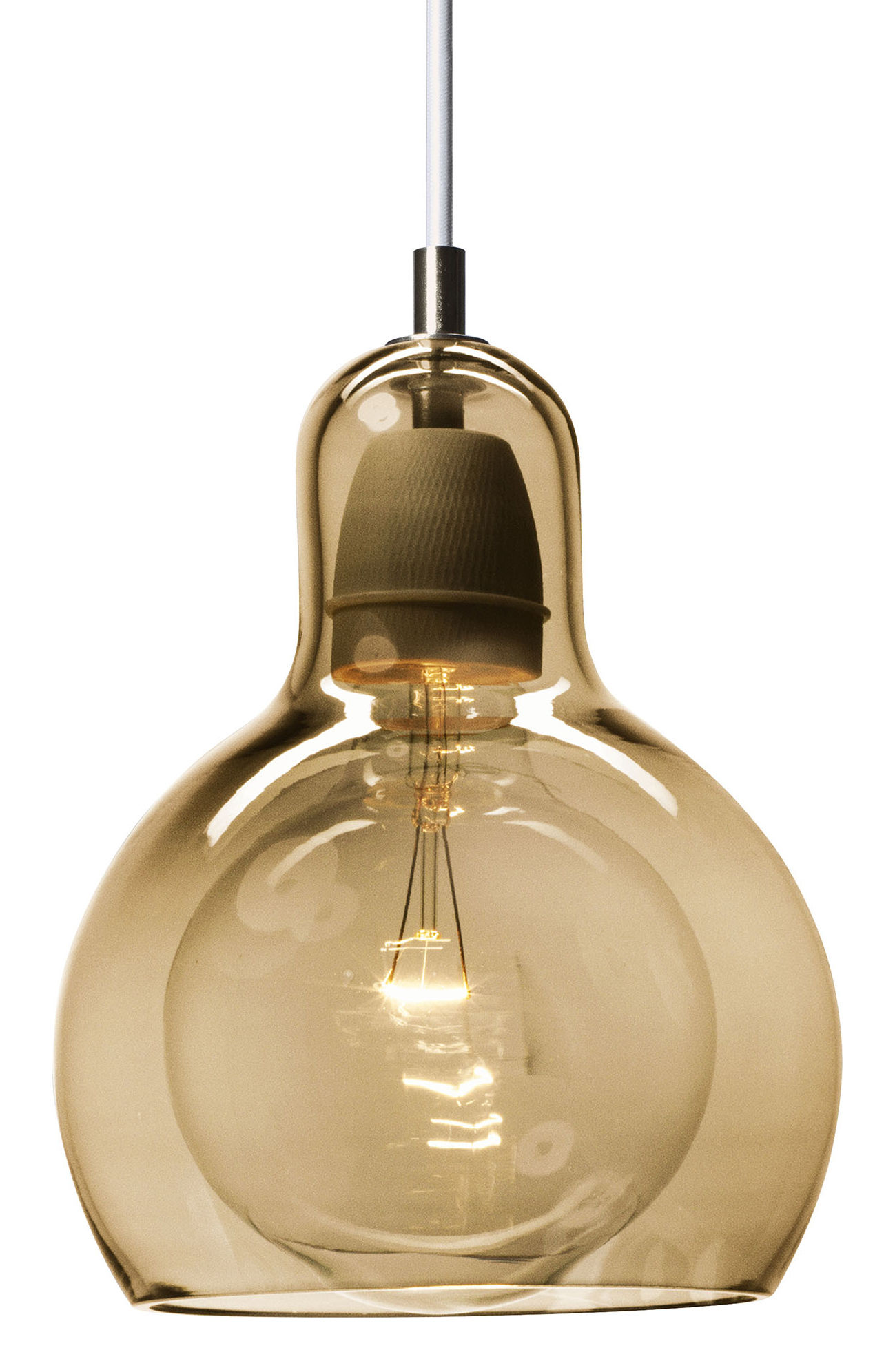 Lighting - Pendant Lighting - Mega Bulb Gold Pendant by And Tradition - Gold / White cord - Mouth blown glass
