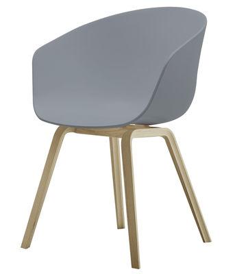 Arredamento - Sedie  - Poltrona About a chair AAC22 - 4 gambe di Hay - Grigio / Base in legno naturale - Polipropilene, Rovere saponato