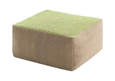 Pouf Raw / 78 x 78 cm - Gan vert en tissu