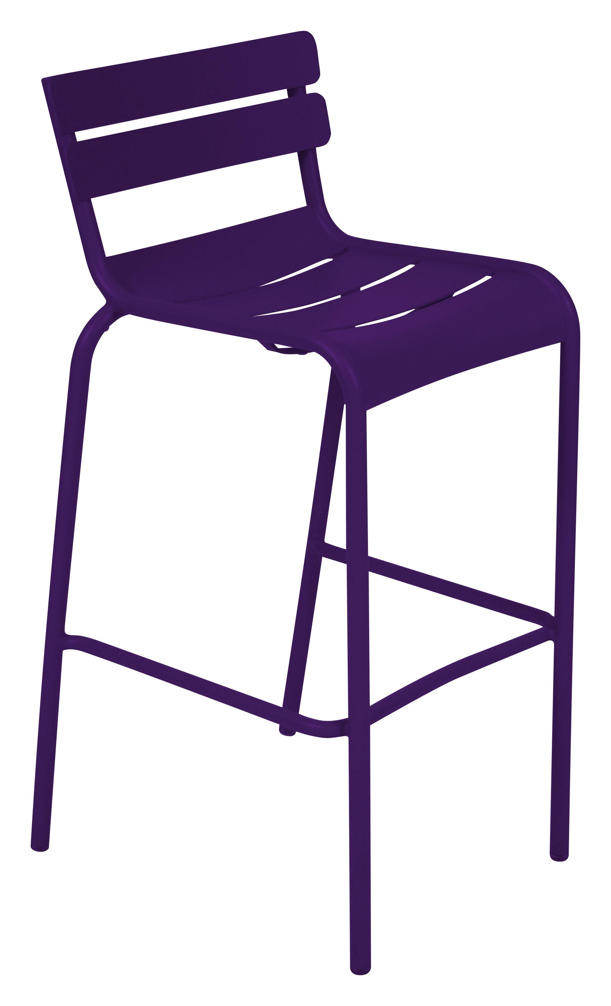 Life Style - Sedia da bar Luxembourg - / seduta A 80 cm di Fermob - Melanzana - Alluminio laccato
