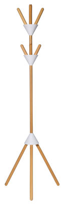 Furniture - Coat Racks & Pegs - Pierrot Coat stand - H 170 cm by Alessi - White / Wood - Thermoplastic resin, Wood