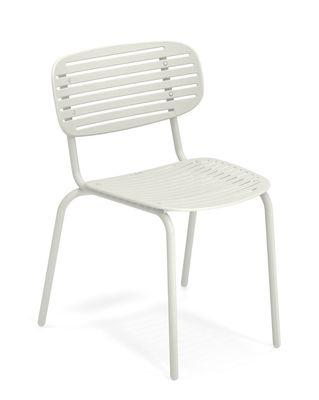 Möbel - Stühle  - Mom Stapelbarer Stuhl / Metall - Emu - Weiß - gefirnister Stahl