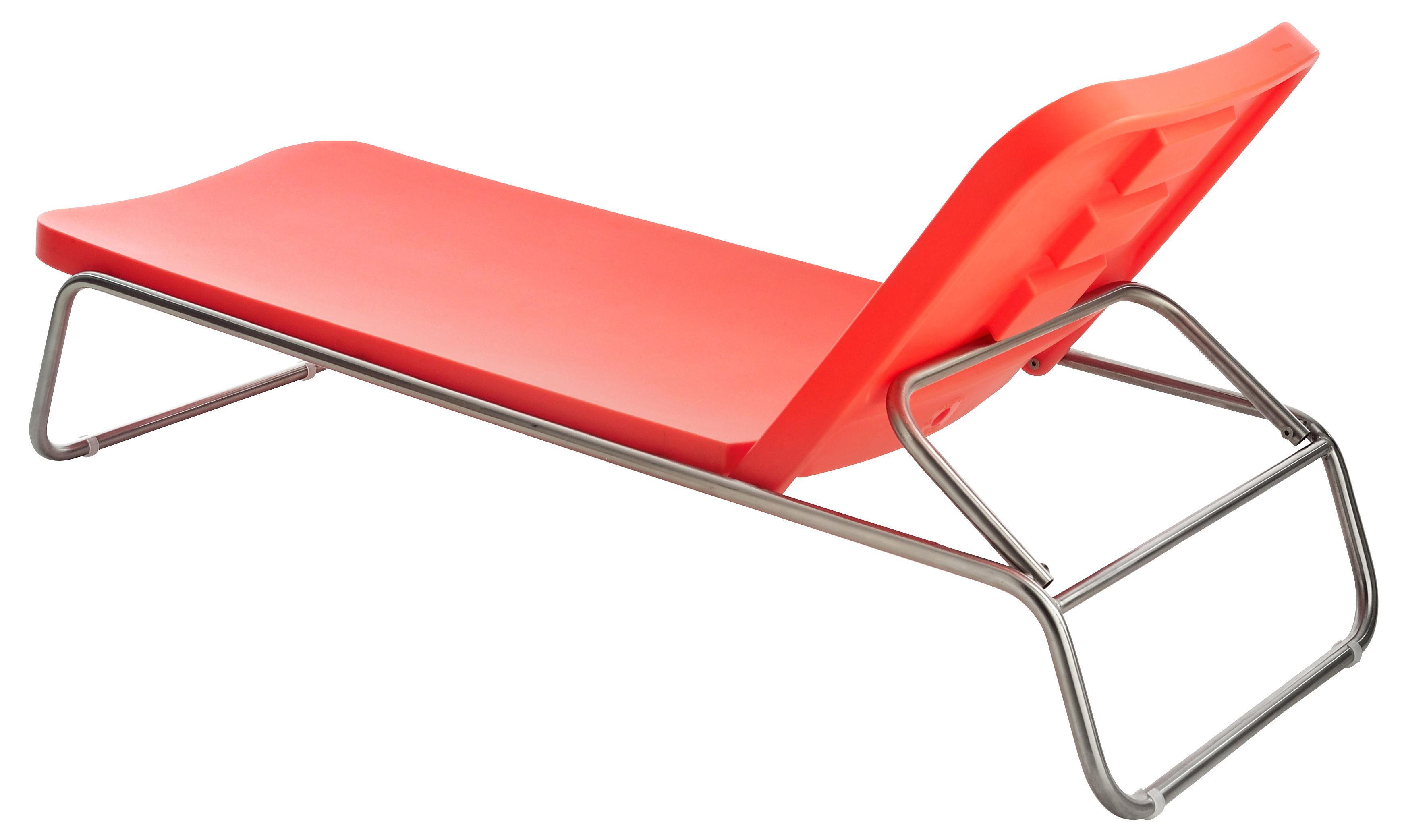Outdoor - Sun Loungers & Hammocks - Time Out Sun lounger - Adjustable backrest by Serralunga - Orange - Brushed steel, Polythene