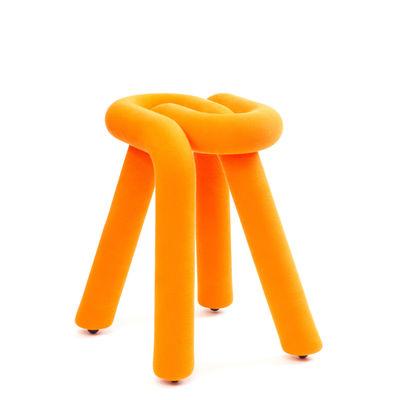Mobilier - Tabourets bas - Tabouret Bold / Rembourré - Moustache - Orange - Acier, Mousse polyuréthane, Tissu