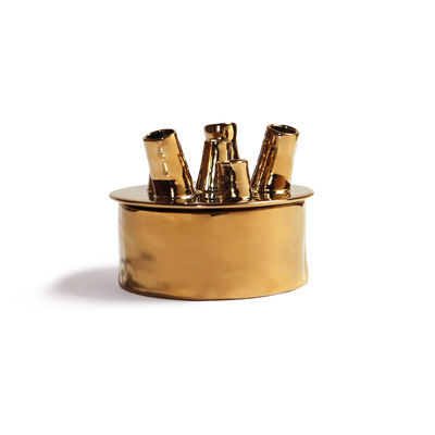 Decoration - Vases - Anouk Spouts Vase - / Small - Porcelain / Ø 16 cm by & klevering - Ø 16 cm / Gold - China