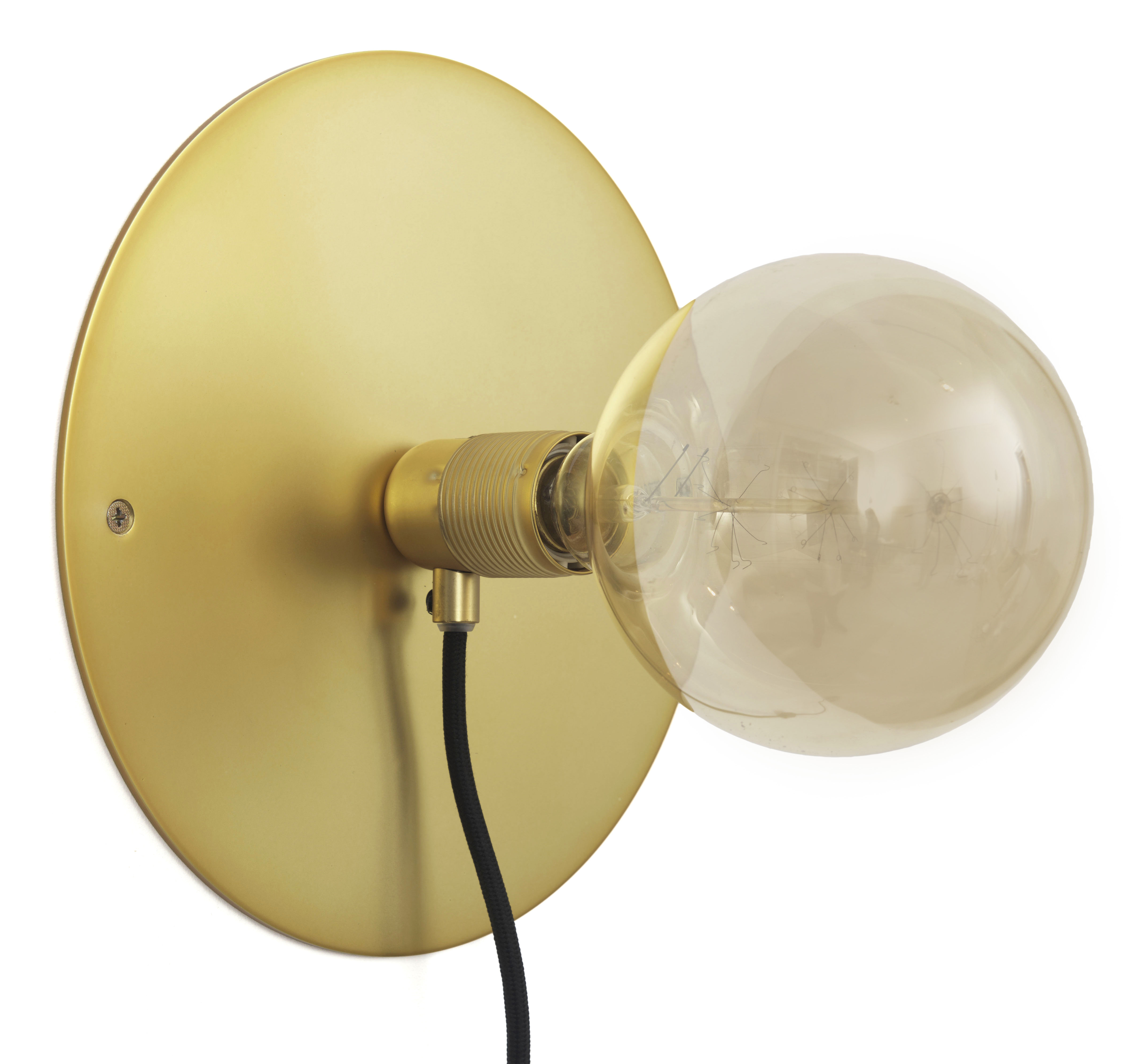 Lighting - Wall Lights - Frama Kit Wall light with plug - Large - Ø 25 cm by Frama  - Brass - Brass finish metal