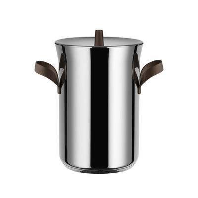 Kitchenware - Pots & Pans - Edo Asparagus cooker - / Basket and lid - All heat sources including induction by Alessi - Steel / Brown handles - Stainless steel