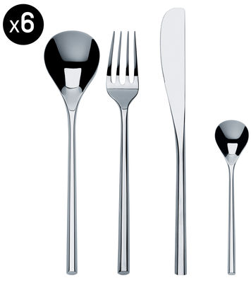 Tischkultur - Bestecke - Mu Besteckgarnitur / 24-teiliger Besteckkoffer - Alessi - Set für 6 Personen / Stahl - Acier inoxydable 18/10