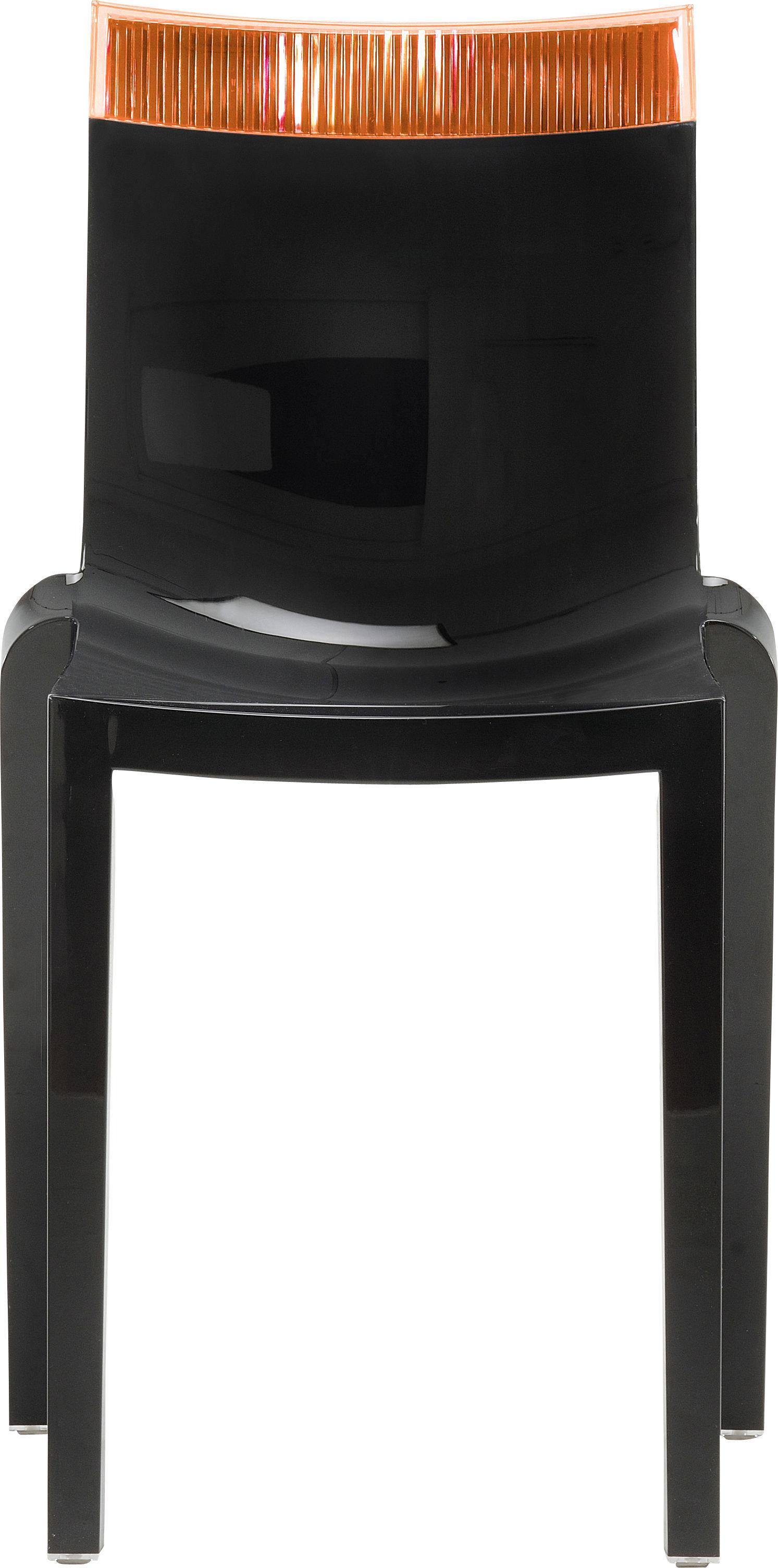 Mobilier - Chaises, fauteuils de salle à manger - Chaise empilable Hi Cut noire / Polycarbonate - Kartell - Noir laqué / orange - Polycarbonate