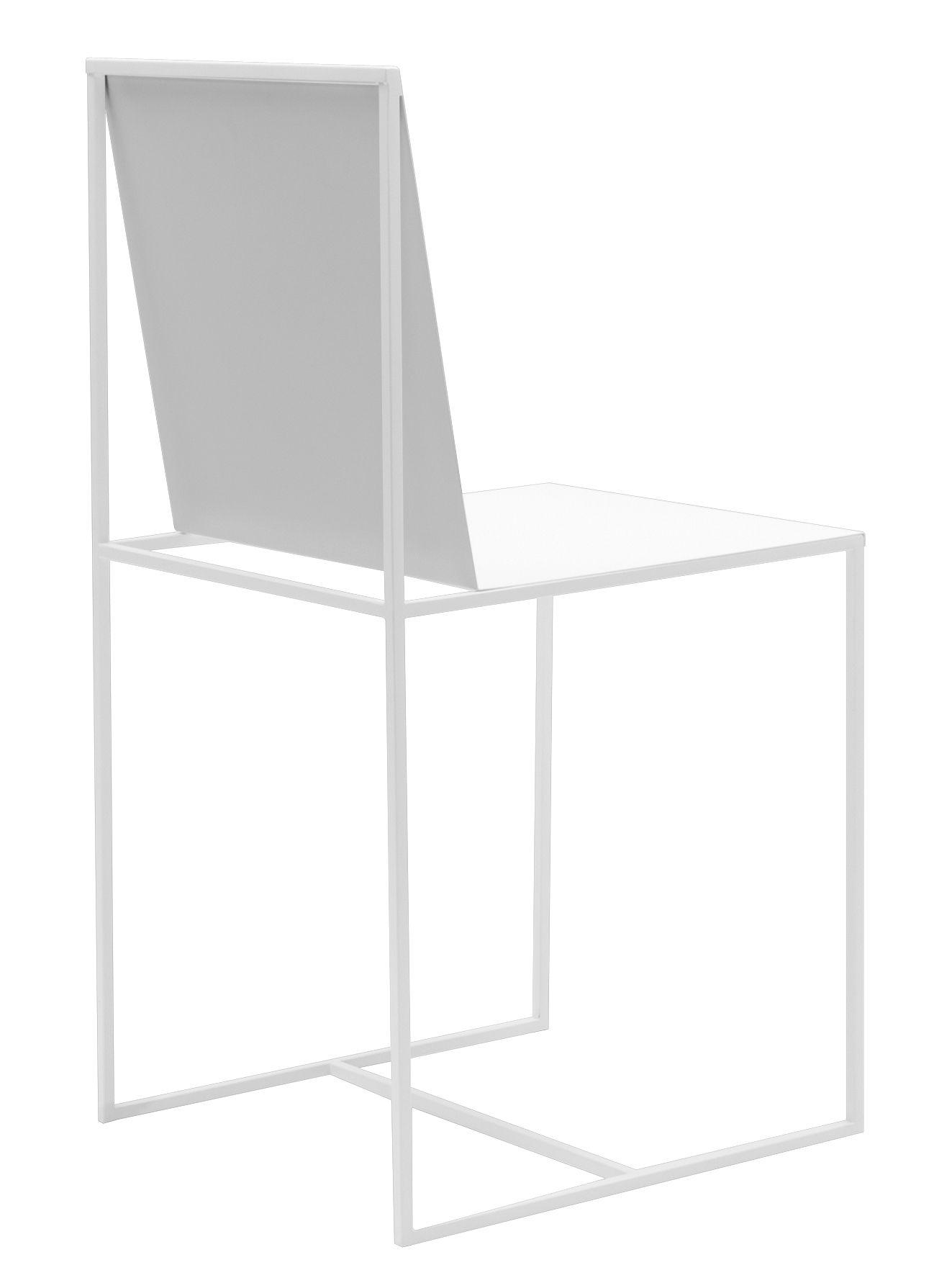 Mobilier - Chaises, fauteuils de salle à manger - Chaise Slim Sissi / Métal - Zeus - Blanc - Acier