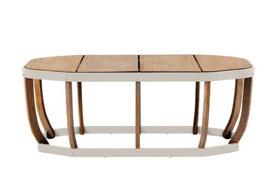Furniture - Coffee Tables - Swing XL Coffee table - / 110 x 57 cm by Ethimo - White & teak - Lacquered aluminium, Teck naturel