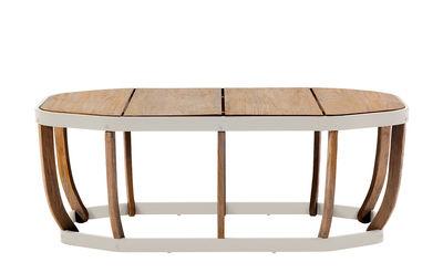 Swing XL Couchtisch / 110 x 57 cm - Ethimo - Weiß,Teak, natur