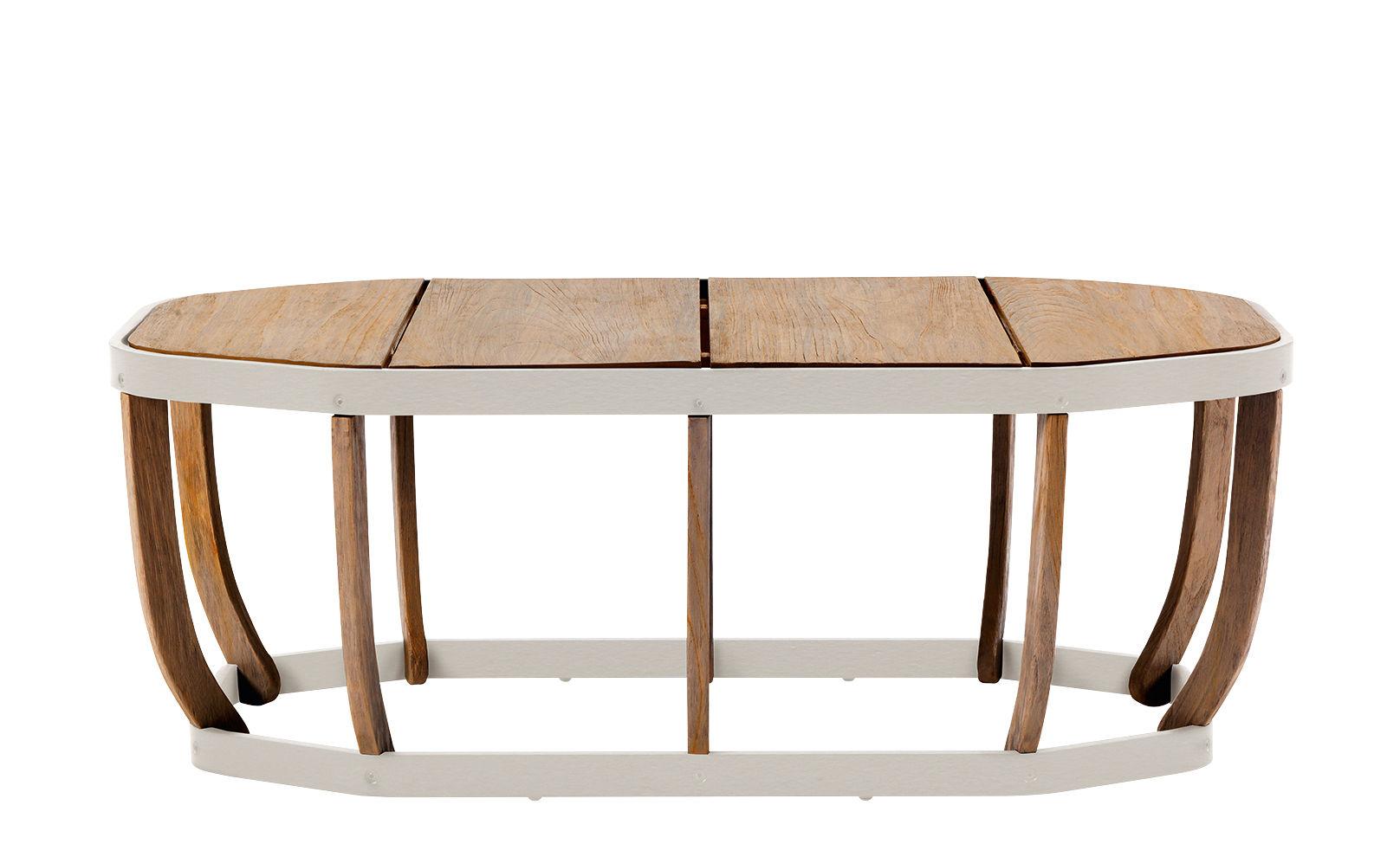 Möbel - Couchtische - Swing XL Couchtisch / 110 x 57 cm - Ethimo - Weiß & Teakholz - lackiertes Aluminium, Natürliches Teakholz
