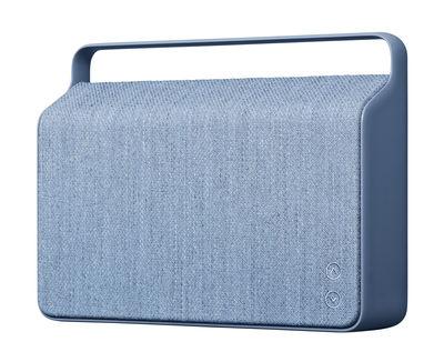 Enceinte Bluetooth Copenhague / Sans fil - Tissu & poignée alu - Vifa bleu océan en tissu