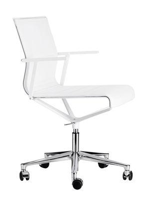 Fauteuil à roulettes Stick Chair / Assise cuir - ICF blanc,métal brillant en cuir