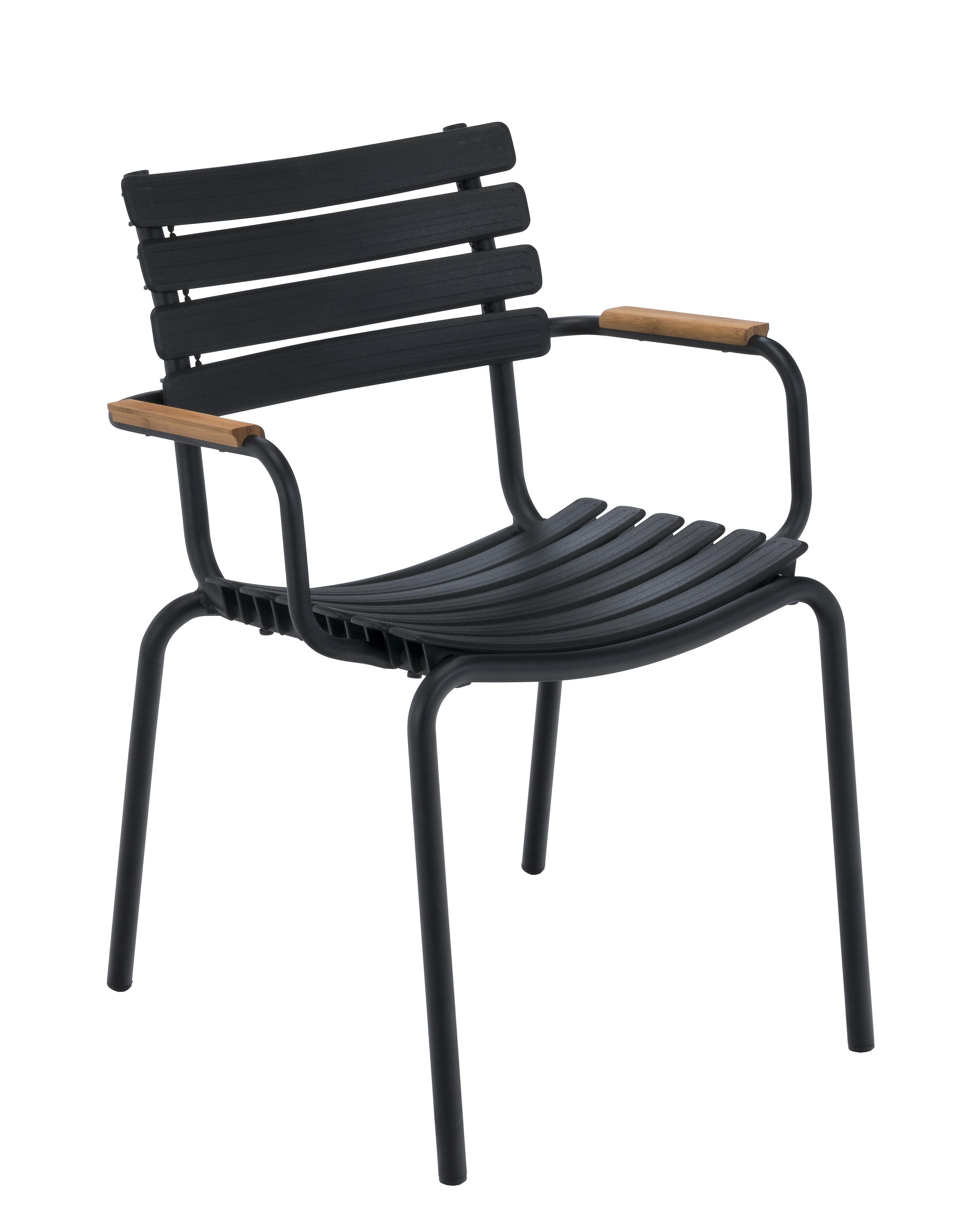 Mobilier - Chaises, fauteuils de salle à manger - Fauteuil empilable Clips / Plastique & accoudoirs bambou - Houe - Noir / Bambou - Aluminium, Bambou, Matière plastique