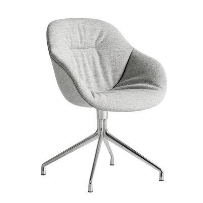Mobilier - Fauteuils - Fauteuil pivotant About a chair AAC121 Soft / Dossier haut - Tissu intégral matelassé - Hay - Tissu gris / Pied chromé -  Ouate, Fonte d'aluminium polie, Mousse polyuréthane, Polypropylène renforcé, Tissu