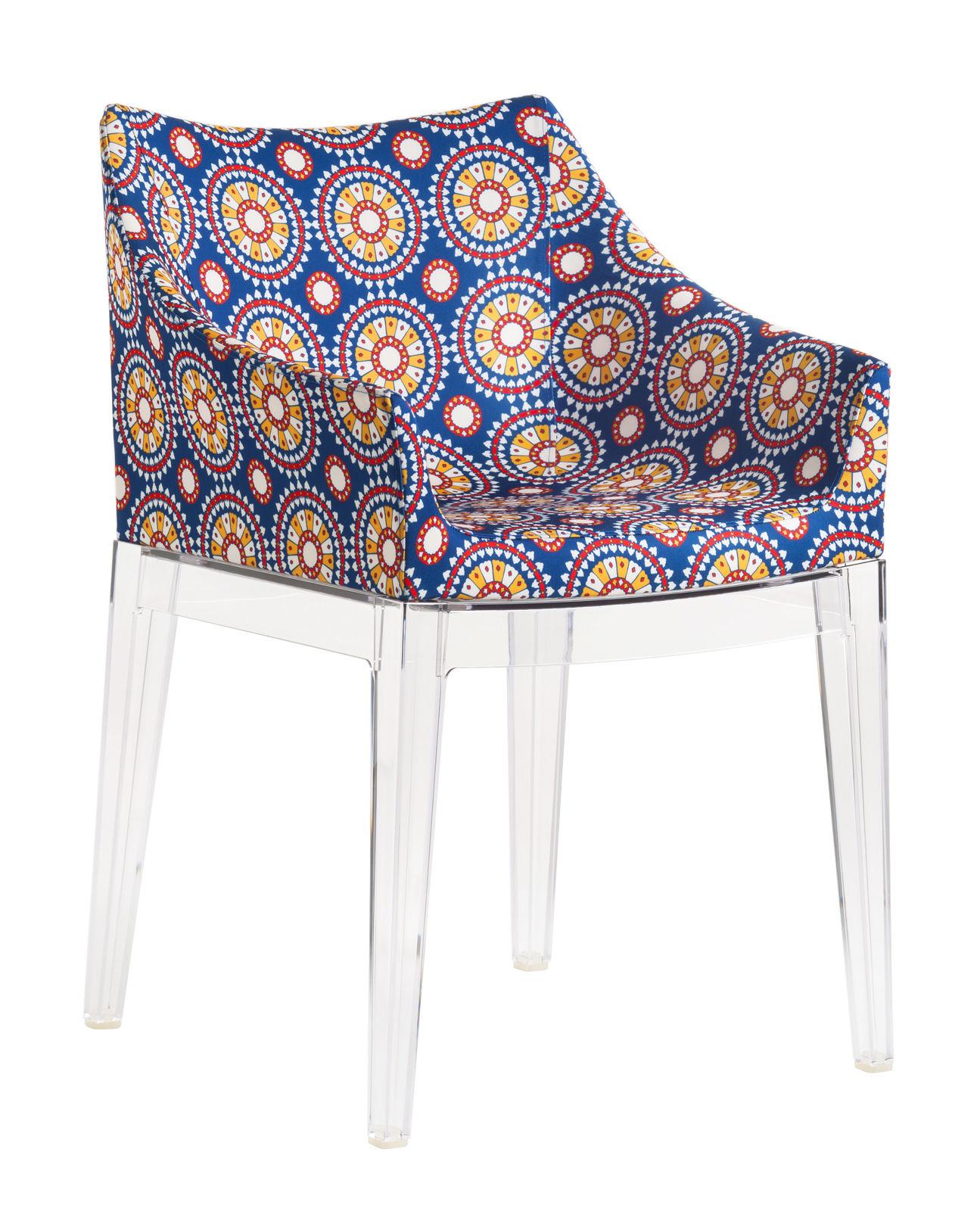 Mobilier - Chaises, fauteuils de salle à manger - Fauteuil rembourré Madame La Double J / Tissu - Kartell - Tissu Ruote / Pieds cristal - Mousse polyuréthane, Polycarbonate, Tissu