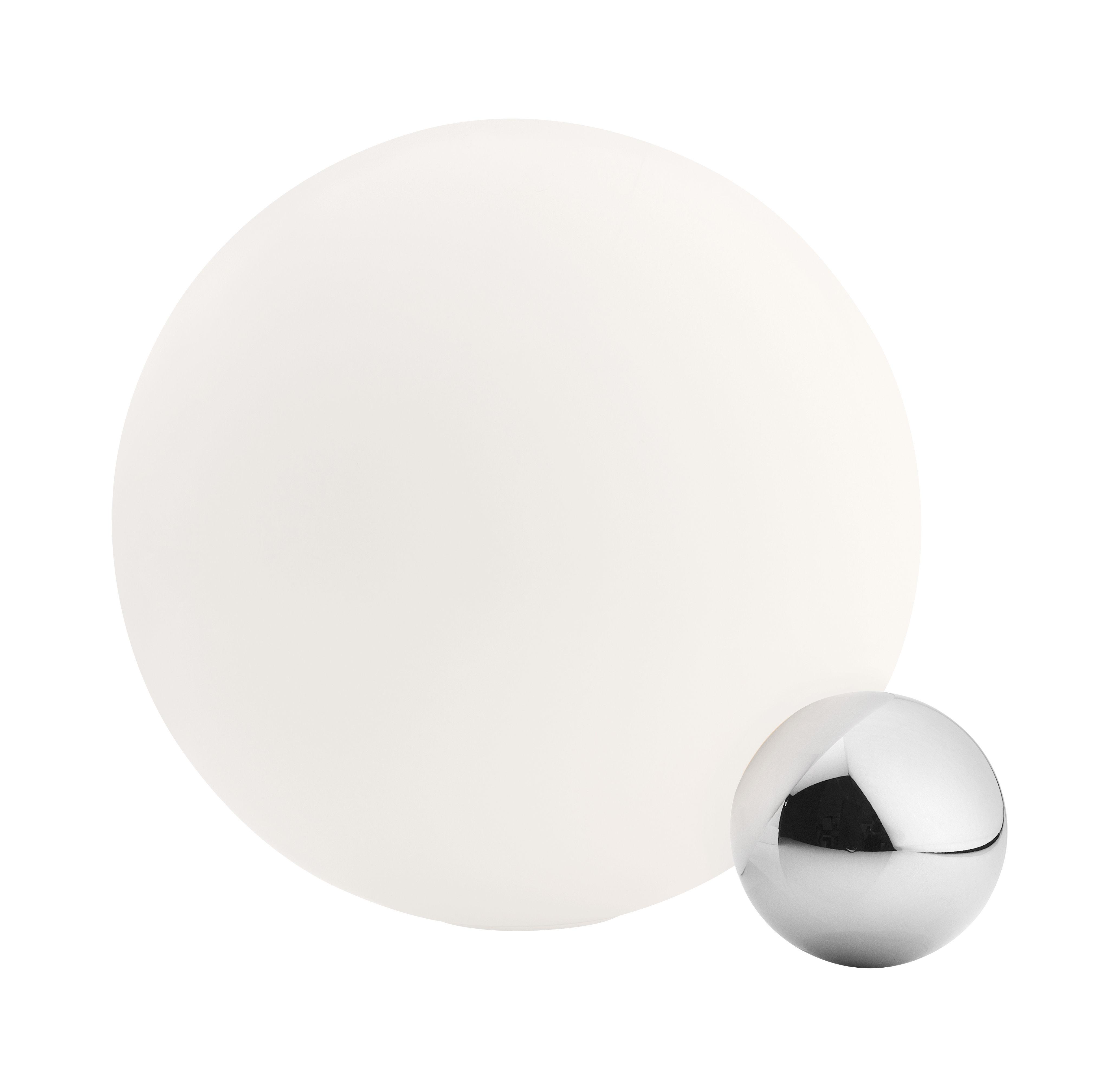 Illuminazione - Lampade da tavolo - Lampada da tavolo Copycat LED - / Ø 30 cm di Flos - Alluminio lucidato / Bianco - Alluminio lucido, vetro soffiato