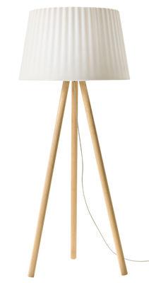 Luminaire - Lampadaires - Lampadaire Agata Wood / Extérieur - H 180 cm - MyYour - Blanc / Pieds bois - Bois, Plastique Poleasy ®