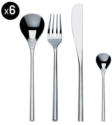 Arts de la table - Couverts de table - Ménagère Mu / Coffret 24 couverts - Alessi - Set 6 personnes / Acier - Acier inoxydable 18/10