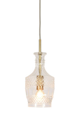 Lighting - Pendant Lighting - Brussels Pendant - Straight / Ø 13 x H 30 cm by It's about Romi - Transparent & gold - Engraved glass, Iron