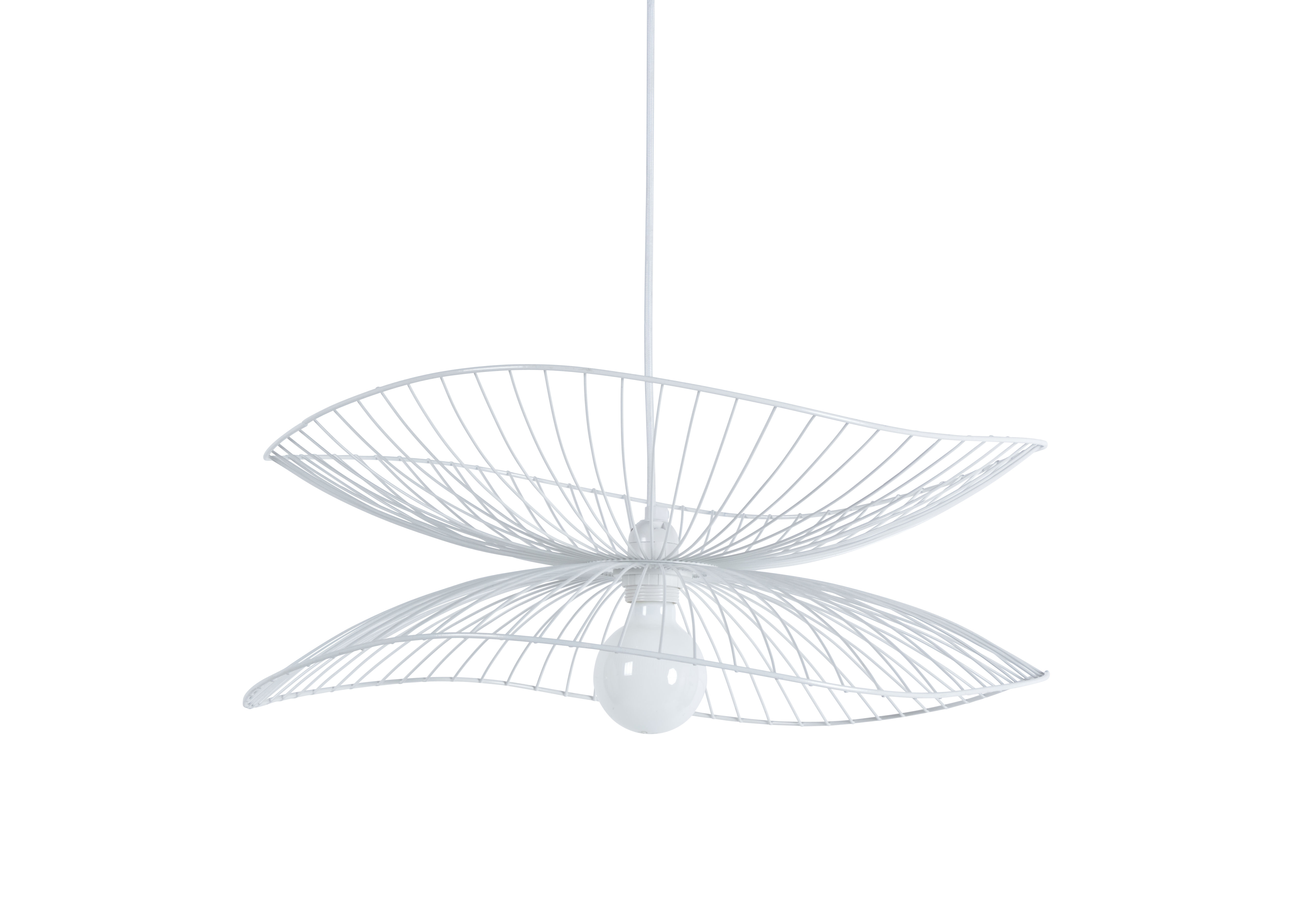 Lighting - Pendant Lighting - Libellule Small Pendant - / Ø 56 x H 20 cm by Forestier - White - Lacquered wire