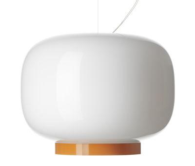 Leuchten - Pendelleuchten - Chouchin  Reverse n°1 Pendelleuchte / Ø 40 cm x H 31 cm - Foscarini - Weiß / Abschlussstreifen orange - Glas, mundgeblasen, lackiert
