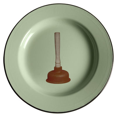 Tableware - Plates - Toiletpaper - Ventouse Plate by Seletti - Plunger - Enamelled metal