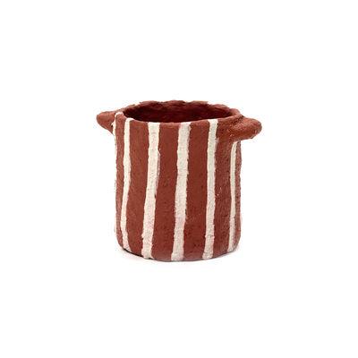 Déco - Vases - Pot Marie / Papier mâché - Ø 12 x H 13 cm - Serax - Rouge / Rayures verticales -  Papier mâché recyclé
