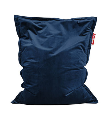 Mobilier - Poufs - Pouf Original Slim Velvet / Velours  - 155 x 120 cm - Fatboy - Bleu foncé - Polystyrène expansé, Velours polyester