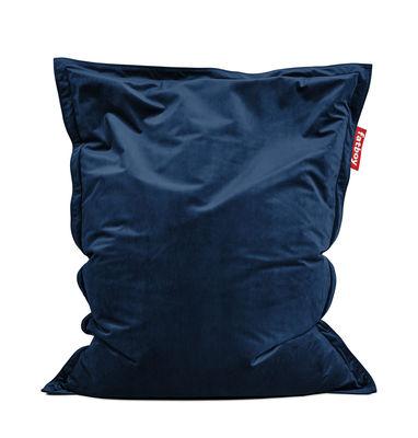 Pouf Original Slim Velvet / Velours - 155 x 120 cm - Fatboy 155 x 120 cm bleu foncé en tissu