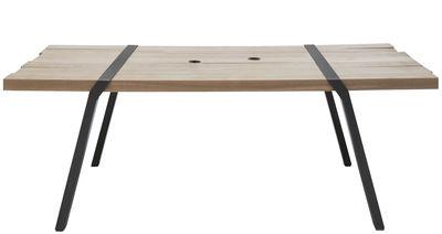 Outdoor - Tische - Pi rechteckiger Tisch / L 280 cm - für innen und außen - Moaroom - Bronzefarben - bemalter Stahl, massive Eiche