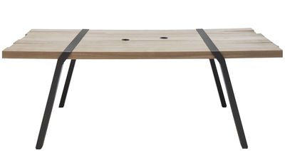 Outdoor - Garden Tables - Pi Rectangular table by Moaroom - Grey gun barrel - Painted steel, Solid oak