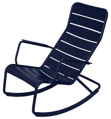 Rocking chair Luxembourg / Aluminium - Fermob bleu abysse en métal