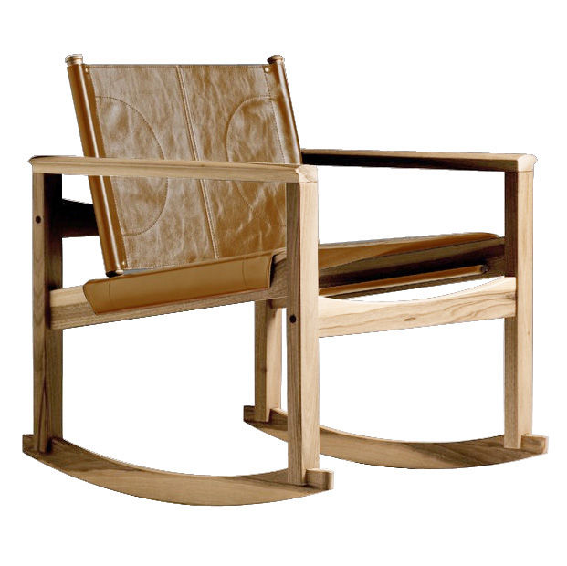 Furniture - Armchairs - Peglev Rocking chair - Rocking chair by Objekto - Oiled oak structure / Whisky leather seat - Leather, Oak