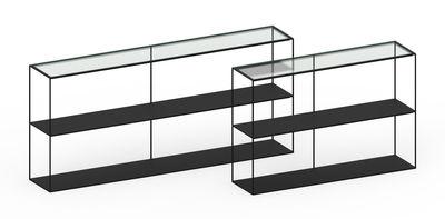 Mensole In Vetro Luminose.Scaffale Slim Irony Di Zeus Nero Trasparente Made In Design