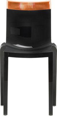 Arredamento - Sedie  - Sedia impilabile Hi Cut - Struttura nera laccata di Kartell - Nero laccato / arancione - policarbonato