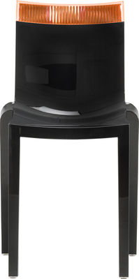 Furniture - Chairs - Hi Cut Stacking chair - Black polycarbonate by Kartell - Lacquered black / orange - Polycarbonate