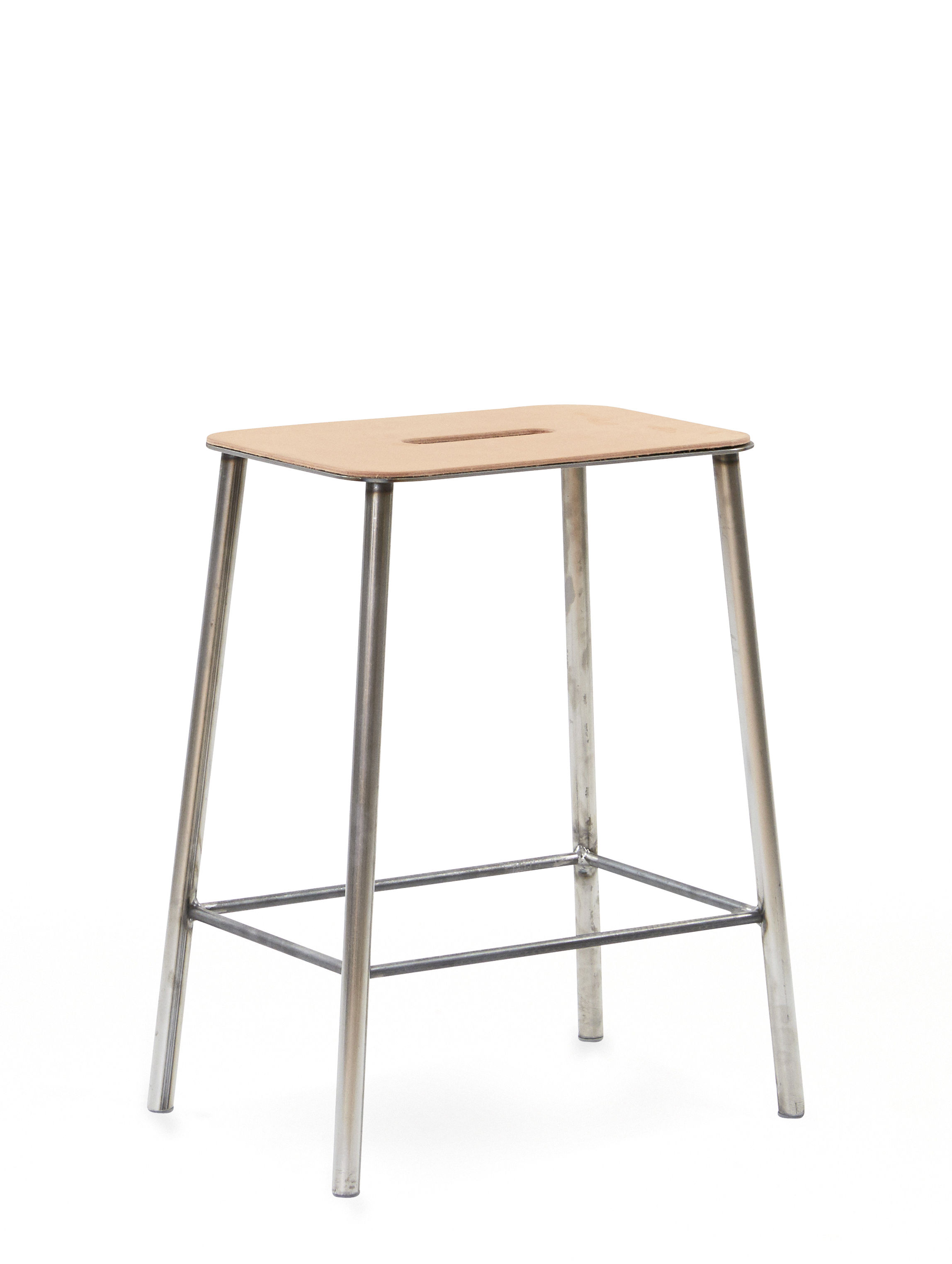 Furniture - Stools - Adam Cuir Stool - / H 50 cm by Frama  - H 50 cm / Beige leather & steel - Leather, Steel