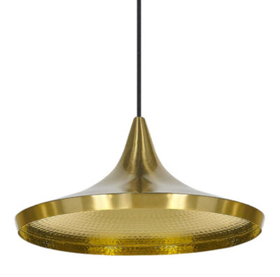 Luminaire - Suspensions - Suspension Beat Wide / Ø 36 cm x H 16 cm - Tom Dixon - Laiton brossé - Laiton
