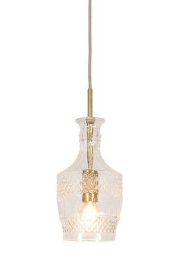 Luminaire - Suspensions - Suspension Brussels Droite / Ø 13 x H 30 cm - It's about Romi - Transparent & or - Fer, Verre ciselé