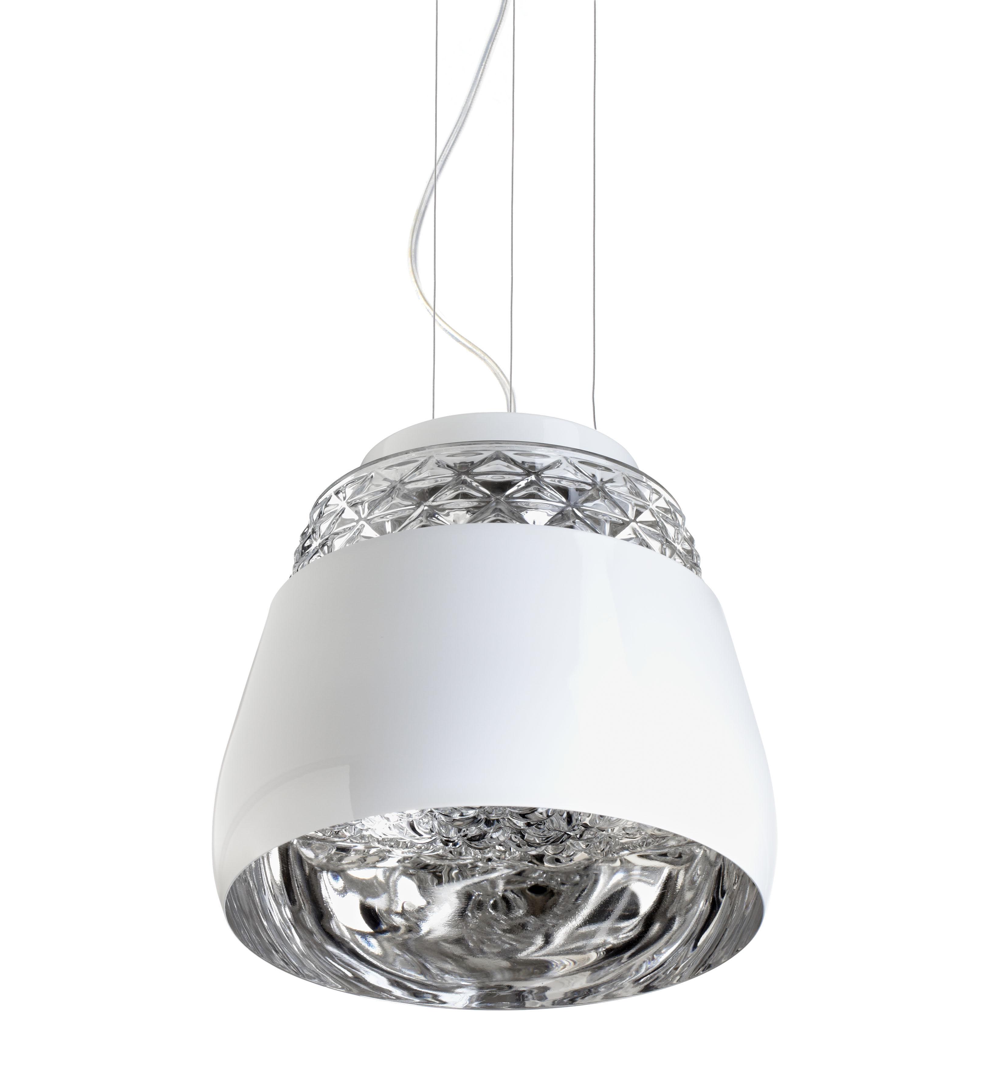 Luminaire - Suspensions - Suspension Valentine Baby Ø 21 cm - Moooi - Blanc / Intérieur Chromé - Métal laqué, Verre soufflé