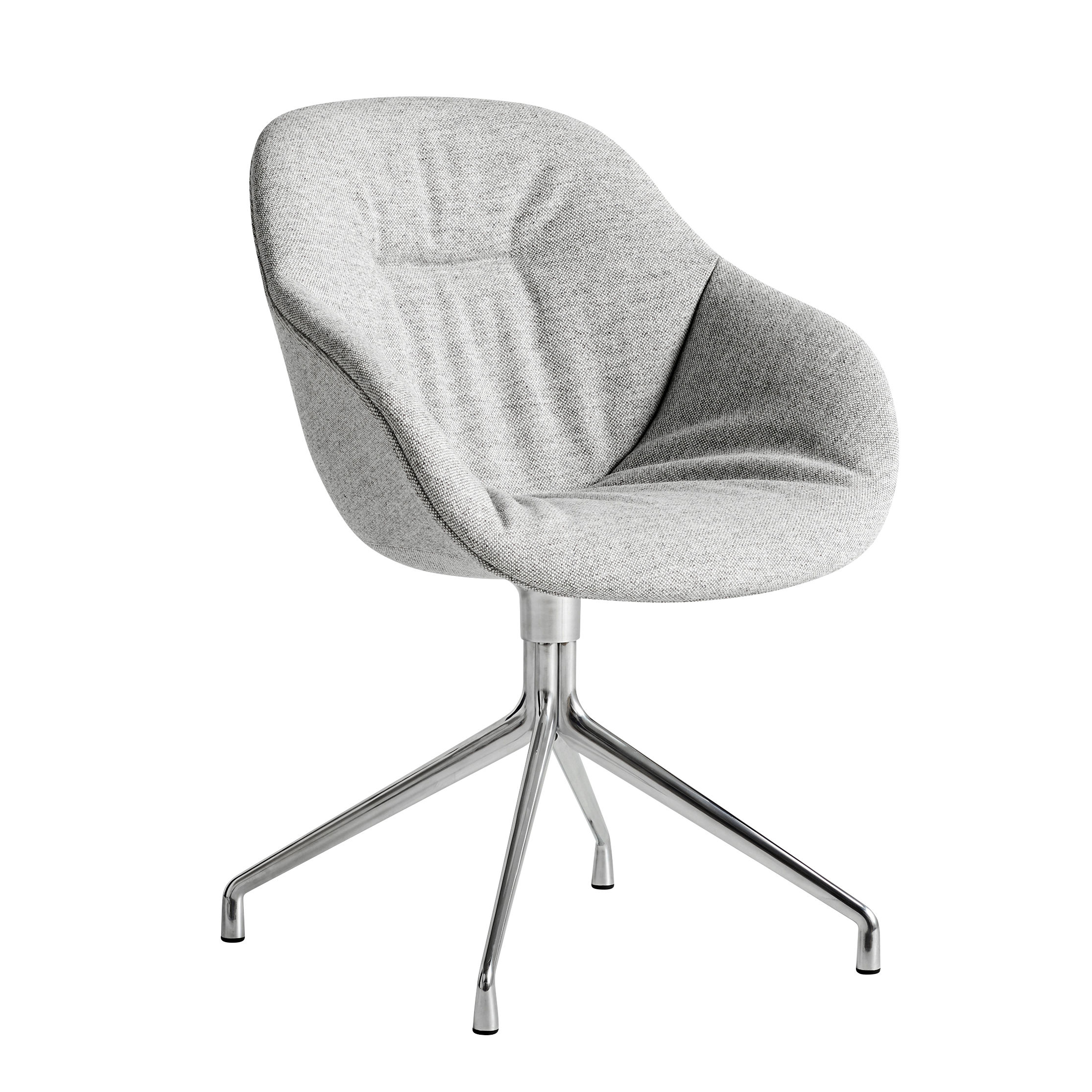 Furniture - Armchairs - About a chair AAC121 Soft Swivel armchair - / High backrest - Full quilted fabric by Hay - Grey fabric / Chrome legs -  Ouate, Fabric, Polished cast aluminium, Polyurethane foam, Renforced polypropylen