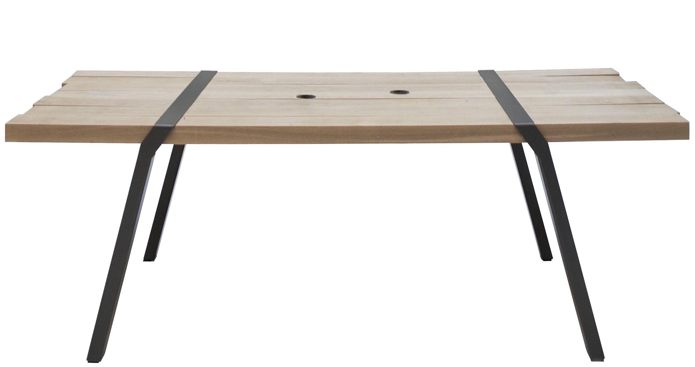 Outdoor - Tables de jardin - Table rectangulaire Pi / 280 x 120 cm - Moaroom - Gris Canon de fusil - Acier peint, Chêne massif