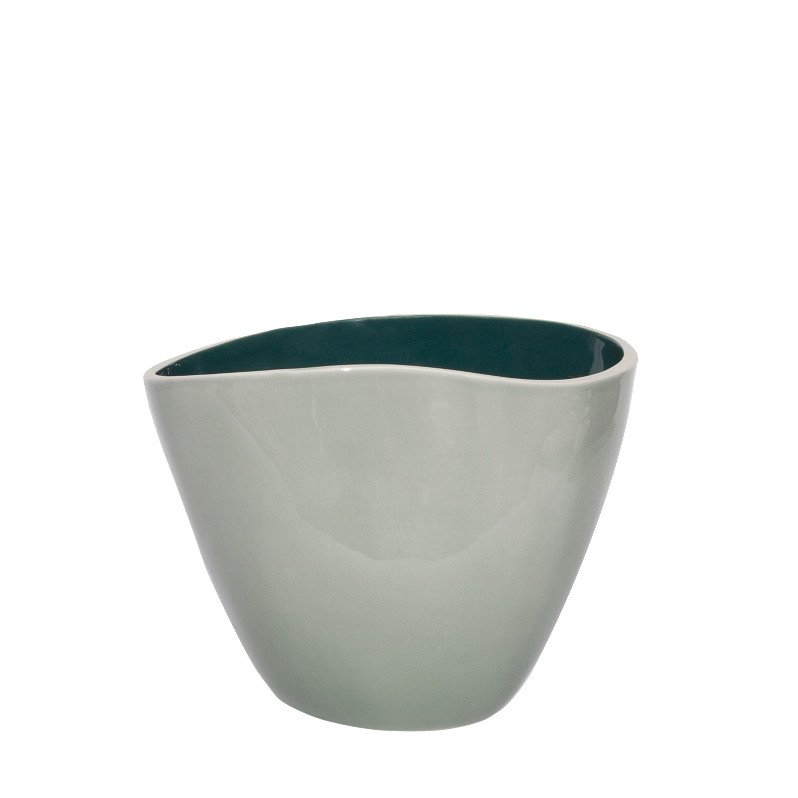 Decoration - Vases - Double Jeu Vase - / Small - H 21 cm by Maison Sarah Lavoine - Lime / Sarah blue - Ceramic