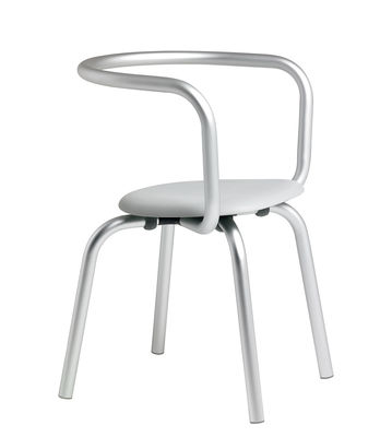 Furniture - Chairs - Parrish Armchair - Metal & plastic seat by Emeco - Grey / Aluminium - Aluminium, Recycled polypropylene