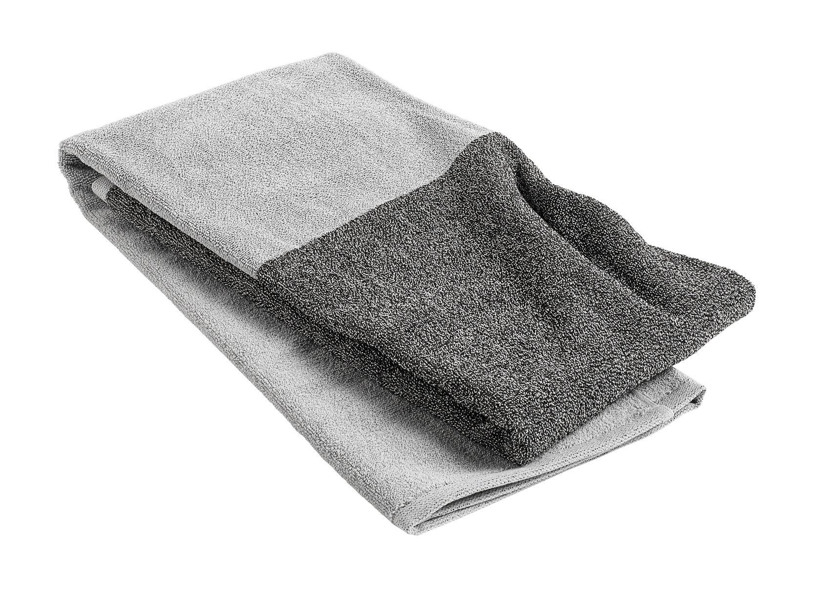 Accessoires - Accessoires für das Bad - Compose Badelaken / 140 x 70 cm - Hay - Hellgrau / dunkelgrau - Baumwolle