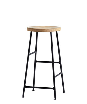 Furniture - Bar Stools - Cornet Bar stool - / H 65 cm - Bois & métal by Hay - Chêne clair / Pied noir - Lacquered steel, Oiled solid oak