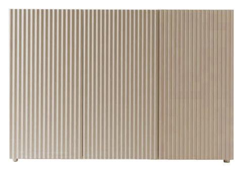 Arredamento - Contenitori, Credenze... - Buffet Leon - 3 porte di Horm - 3 porte - Faggio sbiancato - Acciaio galvanizzato, Faggio tinto, Vetro temprato